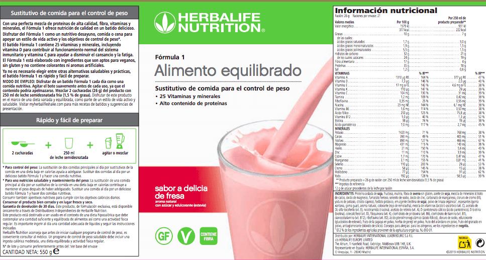 Etiqueta del batido Formula 1 de Herbalife hervalife hebolai