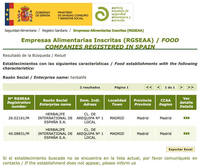 registro sanitario herbalife españa
